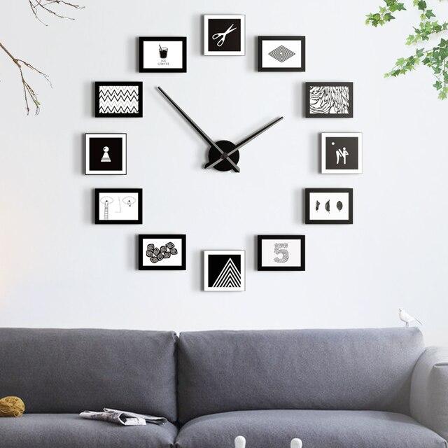 Trendy Uhren Dekoration Kunst Quarz Modernen Stil Wohnzimmer Wanduhr Nordic  Fotowand Kreative Diy Uhr Mu With Uhren Wohnzimmer