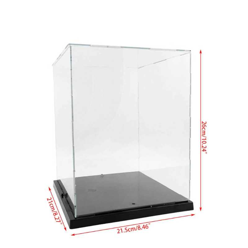 Clear Acrylic Display Box With Colorful Light Dustproof Action Figure  Showcase 95AE