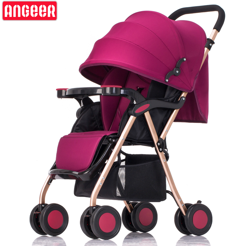 Special price Aluminum alloy frame baby stroller can sit reclining light portable folding newborn baby umbrella 8 wheel stroller