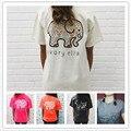 2017 Nuevo Elefante Impreso O-cuello de Manga corta Camiseta de Las Mujeres 5 Mujeres del Algodón del Color Tops Sweatshit 4XL