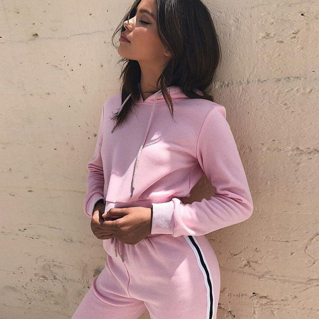 Women Set Hoodies Crop Top Sweatshirt+Side Stripe Pants Hooded 2 Pieces Sets Women Clothing Suits Female