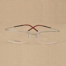 Handoer Rimless Optical Glasses Frame for Men Spectacles Prescription Flexible Titanium Legs