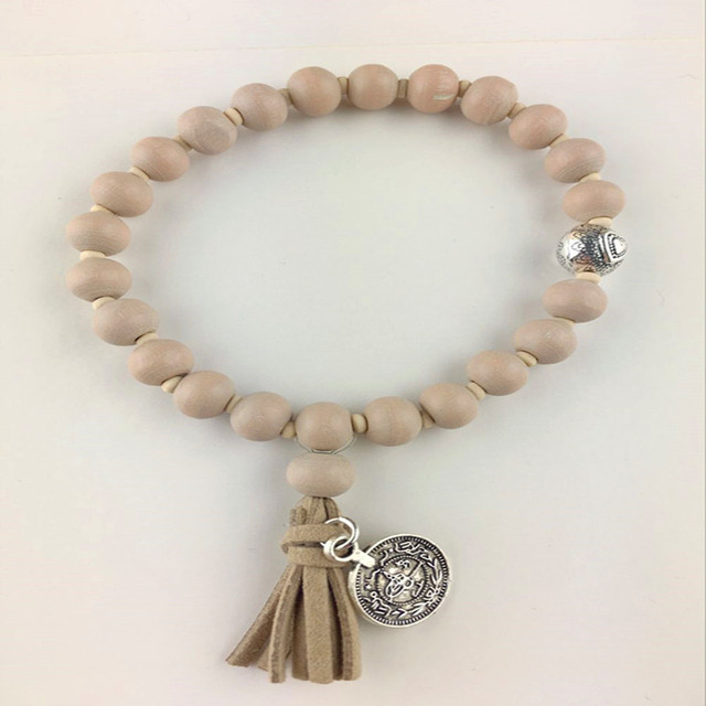 Statement Necklace Wooden Beads Khaki Tassel
