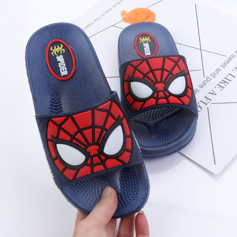 15d2bdc50 2019 Baby Boys Slippers Children Pvc Rubber Cartoon Spiderman Kids Home  Sandal Shower Shoes Soft Flat Shoes Boy Sandalia 26 35-in Slippers from  Mother ...