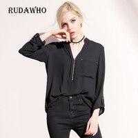 Elegant Women Shirt Career White Black Shirts Long Sleeve Button New Designer Clothing 2017 Office Classic