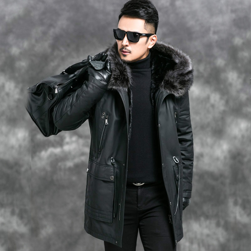 Genuine Leather Jacket Men Mink Fur Liner Parka Mens Leather Jacket Cow Leather Mink Fur Coat Jaqueta Masculino Couro 4545 YY726(China)