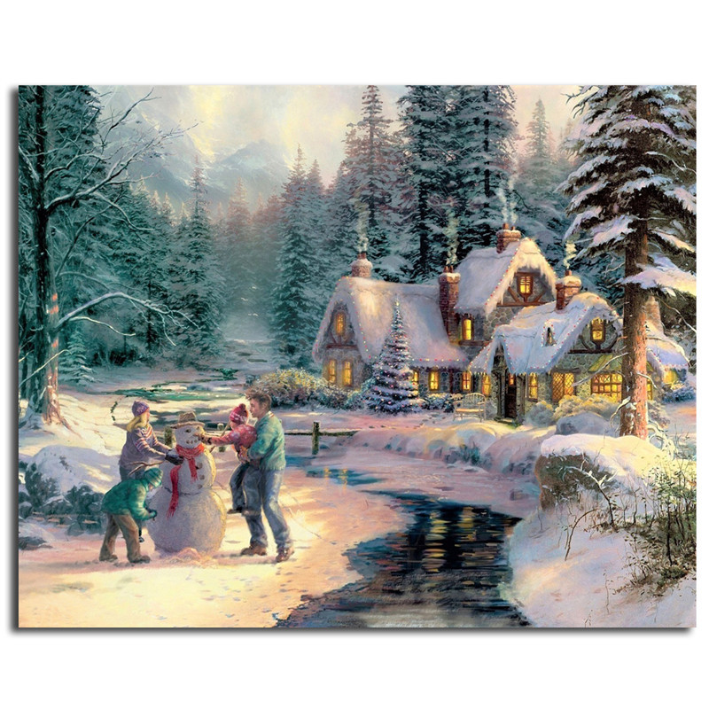 Us 5 7 5 Off Frosty The Snowman By Thomas Kinkade Wall Art Canvas Posters Prints Landscape Painting Wall Pictures For Living Room Home Decor In