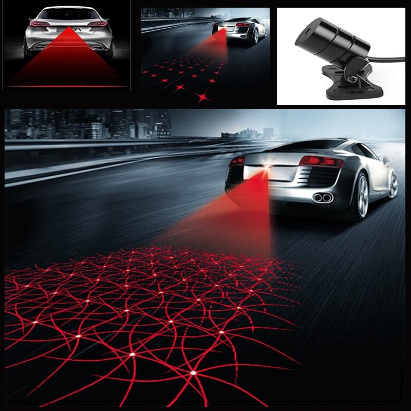 Universal LED Car Motorcycle Laser Fog Light Anti Collision Tail Lamp Auto Moto Braking Parking Signal Warning Lamps Car styling стоимость
