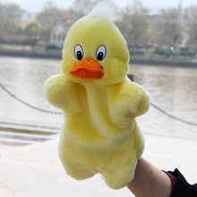 Baby children Cute Animal Plush Hand Puppets Childhood Soft Toy Yellow Duck and rabbit Shape Story Pretend Playing Dolls Gift