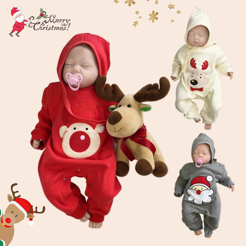 Red New Year Bebe Festiva Costume Infant Warm Fleece Rompers Baby Christmas Santa Claus Clothes Snowman Children Winter Clothes
