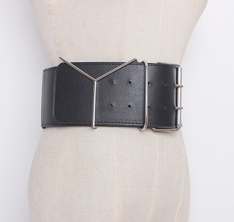 Women's Runway Fashion Elastic Pu Leather Cummerbunds Female Dress Corsets Waistband Belts Decoration Wide Belt R1321