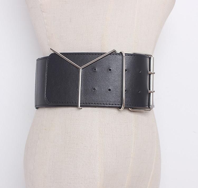 Women's Runway Fashion Elastic Pu Leather Cummerbunds Female Dress Corsets Waistband Belts Decoration Wide Belt R1321