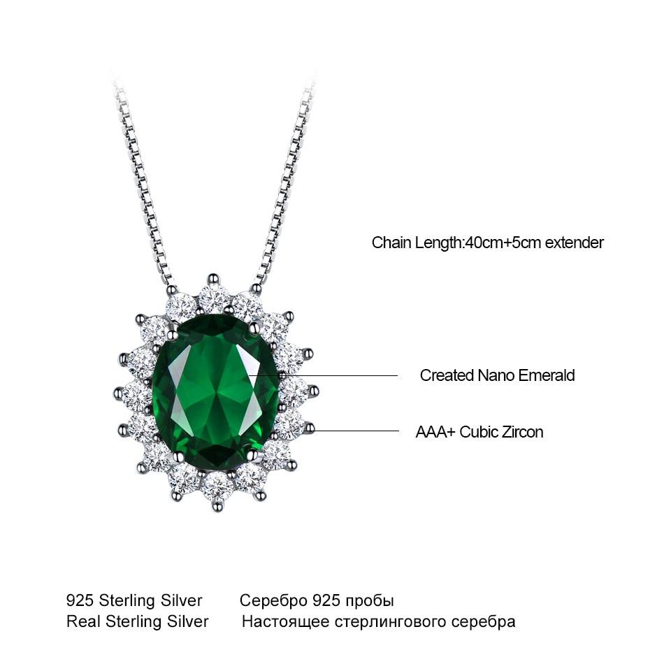UMCHO Oval 8 * 10mm Gemstone Nano Emerald Privjesak 925 Sterling - Fine nakit - Foto 5