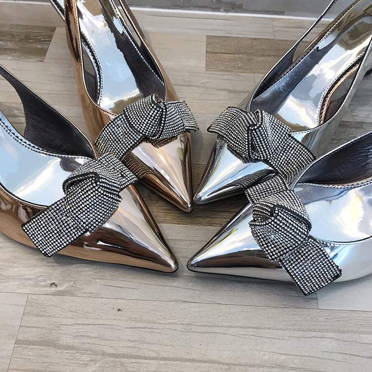 2019 Brand Slingback Women Pumps Luxury Rhinestones Butterfly Party Wedding Shoes Elegant  High heels Summer Prom Shoes Sandals 1