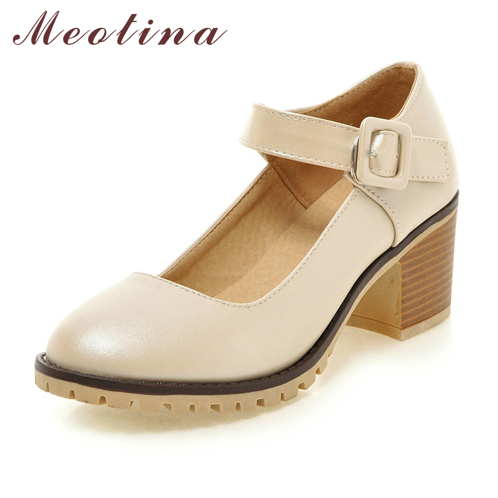 Meotina Shoes Women Round Toe Chunky High Heels Mary Janes Causal Ladies Shoes Comfort Thick Heels White Beige Black 34-43 9 10