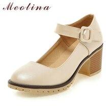 Meotina туфли дамская обувь с круглым носком на высоком массивном каблуке в стиле Мэри Джейн повседневная дамская обувь комфортная на толстом каблуке белого бежевого и черного цветов размер 34–43 9 10