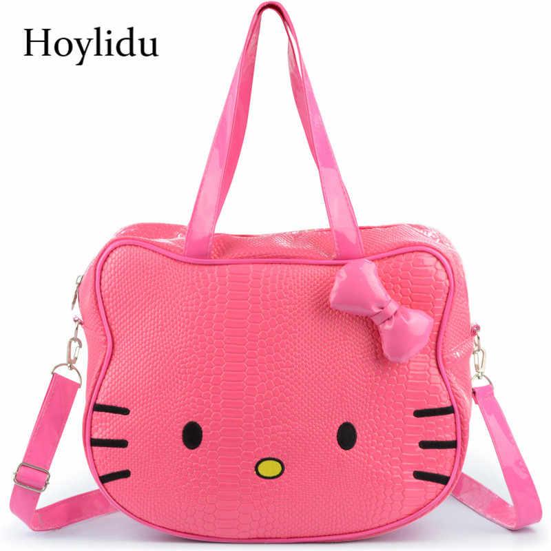 4a45a033cbd8 Для женщин мультфильм милый Hello сумка Китти сумка через плечо для девочек  водостойкие из искусственной кожи