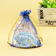 Christmas Wedding ceremony Present Sweet Baggage 100pcs/lot Royal Blue Coronary heart Organza Tull Jewellery Present Packaging Baggage Drawable Beauty Pouch