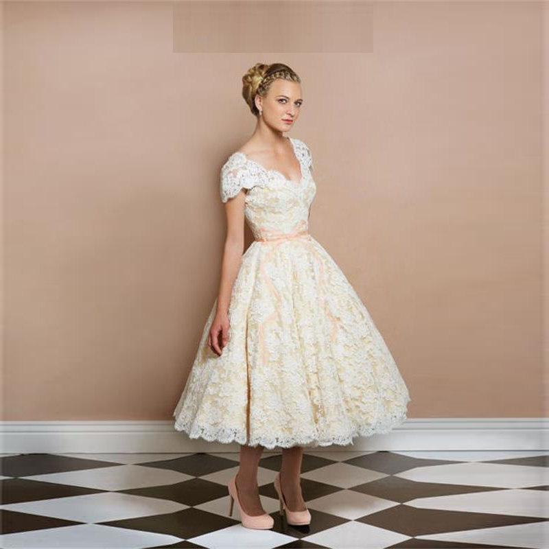 Vintage Style Lace Wedding Dresses: New Vintage Style Short Sleeve Tea Length A Line Short