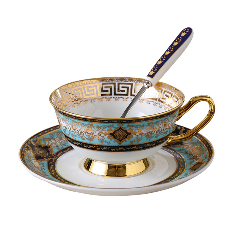 Europe haute qualité os chine tasse à café et soucoupes bohème bleu café tasse ensemble thé tasse ensemble britannique fleur thé tasse cadeau ensemble