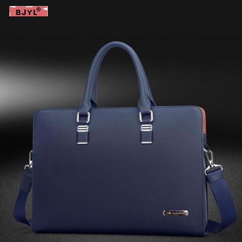 BJYL Genuine Leather business Men Handbags slung cross section men 14