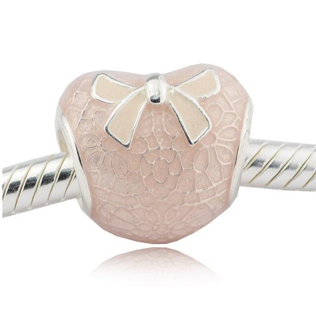 cuore rosa pandora con fiocco