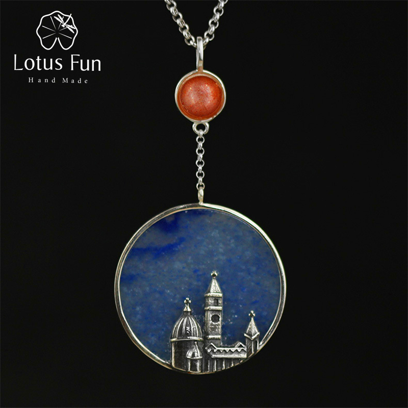 Lotus Fun Real 925 Sterling Silver Natural Aventurine Handmade Fine Jewelry Florence Cathedral Pendant without Necklace Women цены онлайн