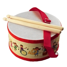Купить с кэшбэком Kids Early Educational Instrument Wood Drum Sticks Children Boys Drum Baby Toys Beat Instruments Hand Drum Toy
