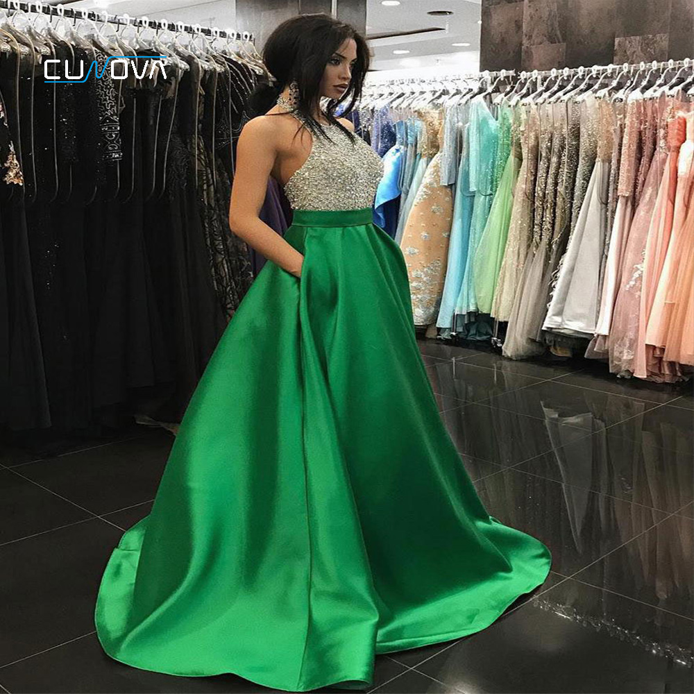 Fashion Multi Color Beading Crystal   Evening     Dress   2019 Shining Satin Halter Neck Formal Party Gowns A-Line Backless Prom Gown