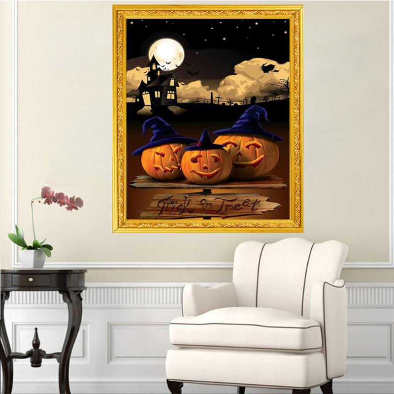 5d Diy Diamond Painting Cross Stitch 40x30cm Halloween Pumpkin Lamp Picture Mosaic Diamonds Embroidery Paintings Hobby Crafts Pleasant In After-Taste Home & Garden Arts,crafts & Sewing