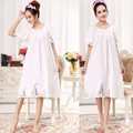 Free shipping Spring and autumn embroidery lace princess sleepwear 100% cotton short sleeve length nightgown female plus size