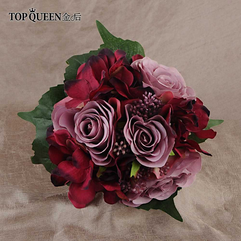 TOPQUEEN F20 wedding bouquet peony bouquet burgundy flowers wedding bouquet flowers real touch bouquet red flowers mariage