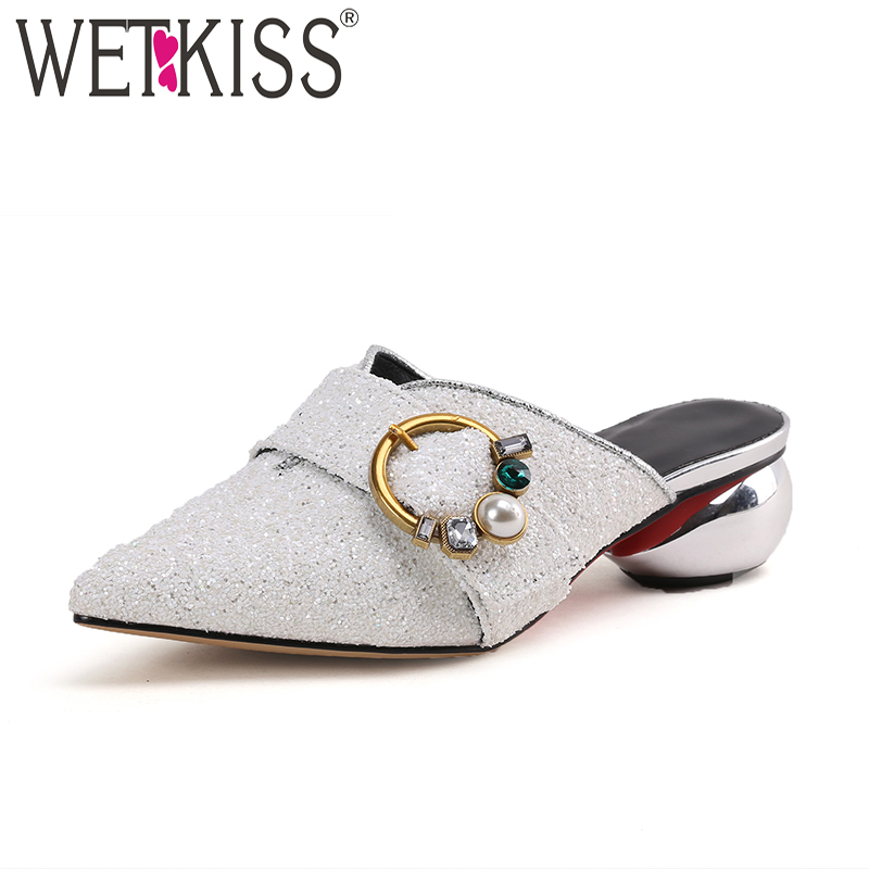 WETKISS Summer High Heels Women Slippers Pointed Toe Strange Style Pearl Crystal Slides Shoes Fashion Sexy Ladies Mules Shoes цена