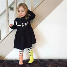 2016 Kids Summer Evening Dress Black Superstar Cool Baby Girl Dresses High Quality Summer Style Easter Party Dress Frock Design