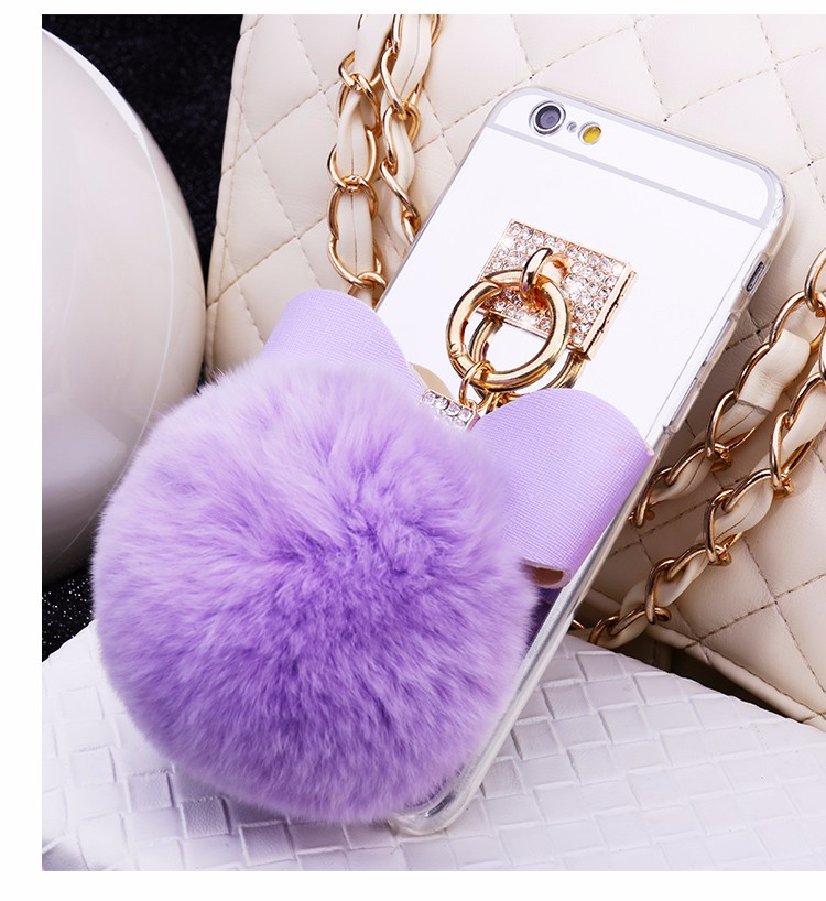 Newest Luxury Rabbit Hair Ball <font><b>Ring</b></font> <font><b>Phone</b></font> Cases Covers For Apple iphone 6/6s 4.7 inch <font><b>Mirror</b></font> Fundas Capa Drop Shipping