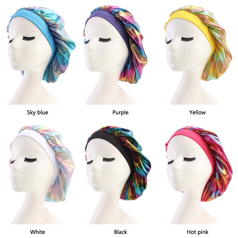 Helisopus Women Faux Silk Bonnet Wide Band Sleep Cap Glitter Reflective Rainbow Colorful Head Cover Ruched Hair Loss Chemo Cap An Enriches And Nutrient For The Liver And Kidney Women's Hair Accessories
