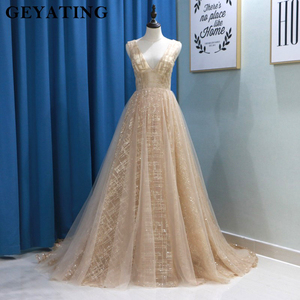 Image 1 - Glitter Champagne Sequins Evening Party Gowns 2020 Elegant Women Plus Size Formal Dress Sexy V Neck Backless Prom Dresses Gold
