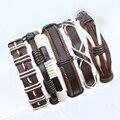 Оптовая 5 шт. Ручной Weave Wrap Конопля & Подлинная коричневый и белый мужчин кожаный браслет для женщин femme pulseira masculina-S152