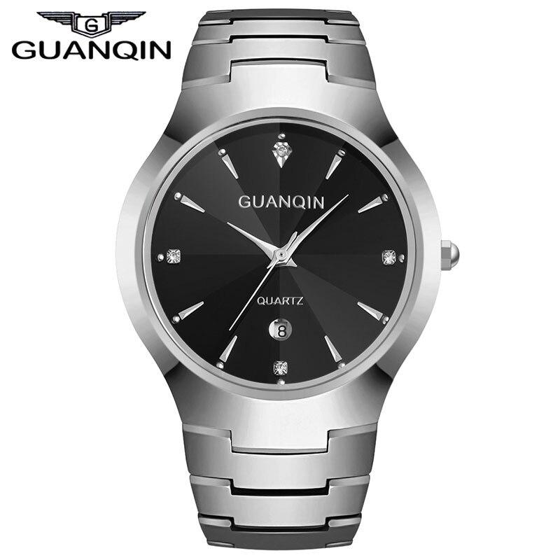 ФОТО GUANQIN GQ30018 calendar fashion men watch causal relogio feminino quartz watches gold silver waterproof Tungsten Steel