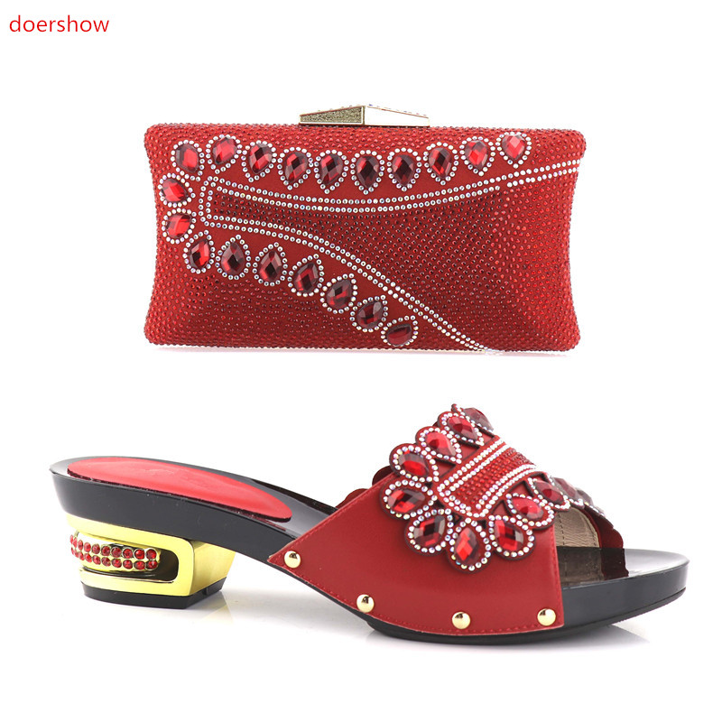 doershow top Selling African Rhinestones Women's Shoes and Bag Set Beautiful Design European Ladies Slipper And Bags Set SHV1-46 doershow latest african matching shoes and bag set beautiful design european ladies slipper and bags sets free shipping sgf1 45