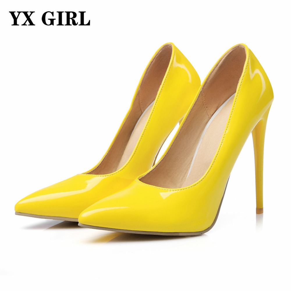 yx gril womens shoes high heels 12cm yellow shoes woman pumps ladies heels sexy pointed toe
