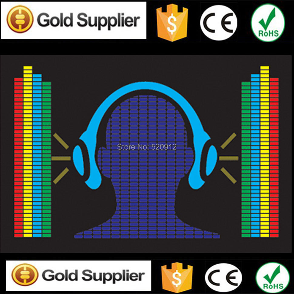 Headphone Equalizer el panel EL sound activated panel EL music equalizer panel led label without inverter ...