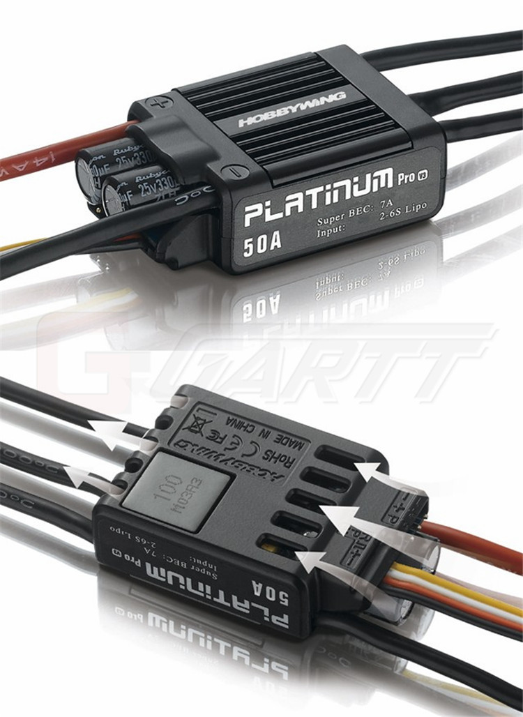 Hobbywing Platinum 50A V3 Brushless ESC For 450 450L RC Helicopter Free shipping 1pcs original hobbywing platinum 100a v3 high performance esc for align trex 550 600 700 rc helicopter fixed wing esc