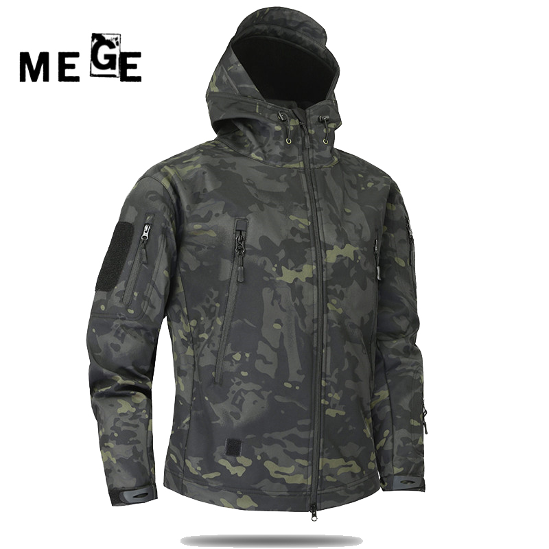 MEGE Men Jacket Winderbreaker Military Hunting Hiking Camping Hoodies Camouflgae Thermal Sports Jacket Softshell Fleece fabric
