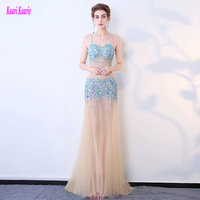 Brilliant Transparent Evening Dresses 2017 Sexy Party Evening Gowns Sweetheart Tulle Crystal Prom Formal Dress Long