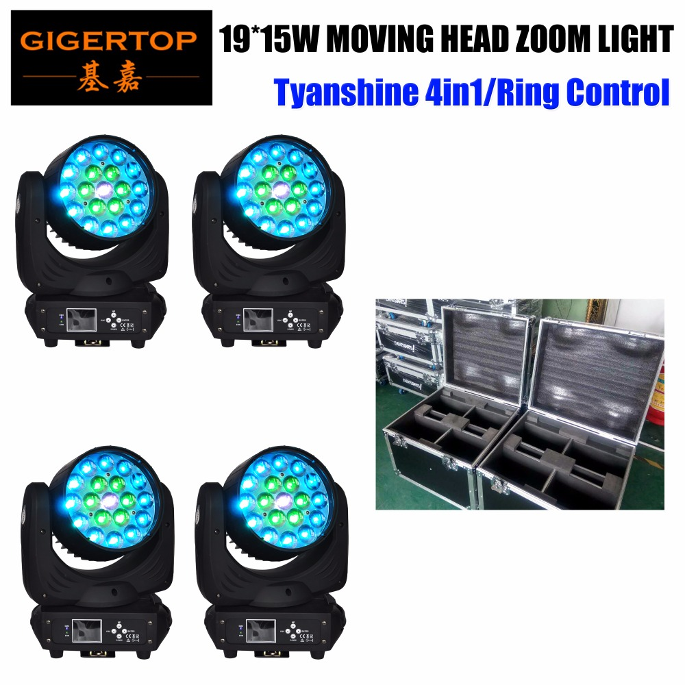 Flight Case 4in1 Pack 19*15W RGBW Led Moving Head Zoom Spot Wash light DMX Disco Party Club DJ Equipment Stage Effect Lights freeshipping tiptop 200w led profile spot rgbw 4in1 stage wash effect cast aluminum gobo frame spring clip safety zoom tp 007