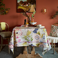 Floral linen tablecloth round square rectangular marriage wedding gift party table cover clothes