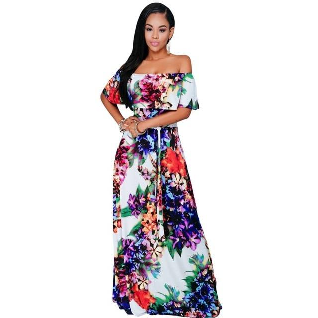 c24f7f766e Multi-color print floral fora do ombro longo boho maxi vestido 2017 sexy  vestidos africanos
