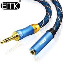 Emk 3.5mm jack cabo de extensão áudio 3.5 macho para fêmea áudio aux cabo para carro fone ouvido mp3/4 aux