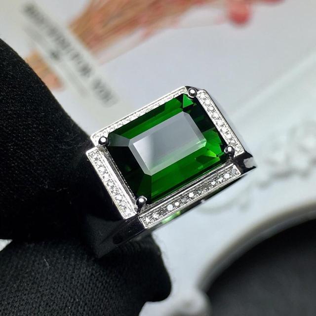 Fine Jewelry Real Pure 18 K Gold Jewelry 100% Natural Green Tourmaline Gemstones 4.9ct Diamonds Male's Wedding Fine Man's Rings